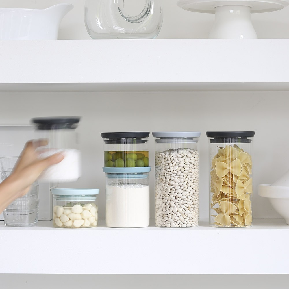 Brabantia stackable glass jar with grey lid Crema