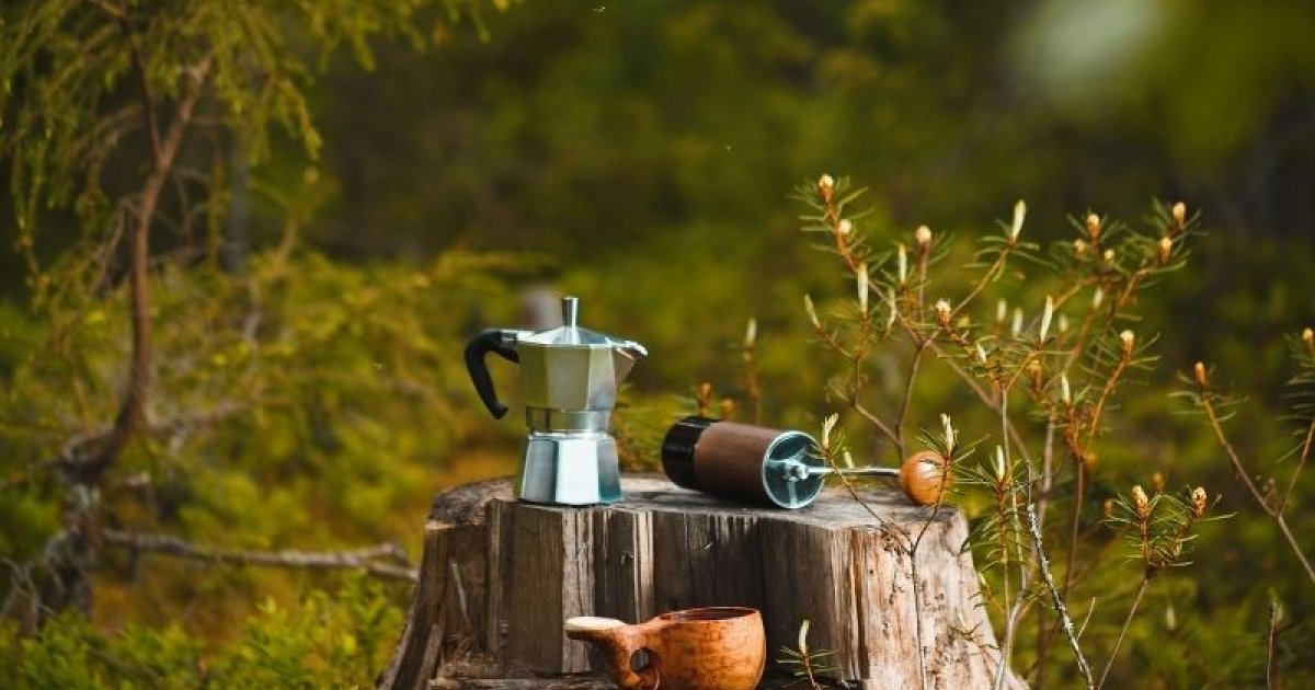 Outdoor coffee - a coffee break in nature
