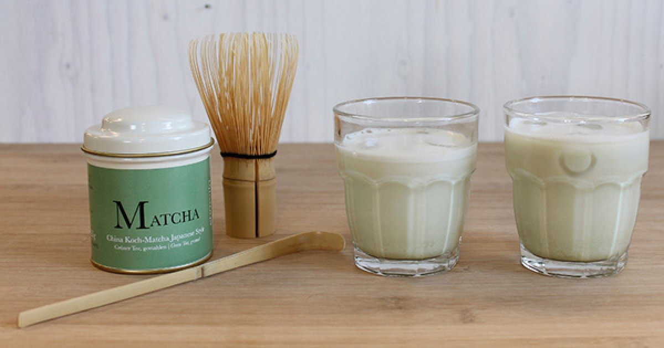 Matcha tea and accessories for preparing matcha