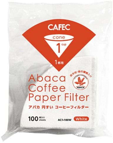 CAFEC ABACA Cone-Shaped Filter Paper 1 Cup, White 100 pcs