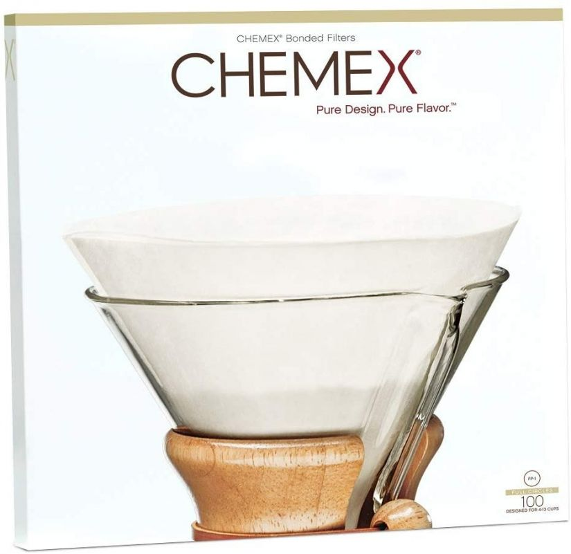 Chemex unfolded Circles Paper Coffee Filters for 5-13 cup Coffeemaker, 100 pcs