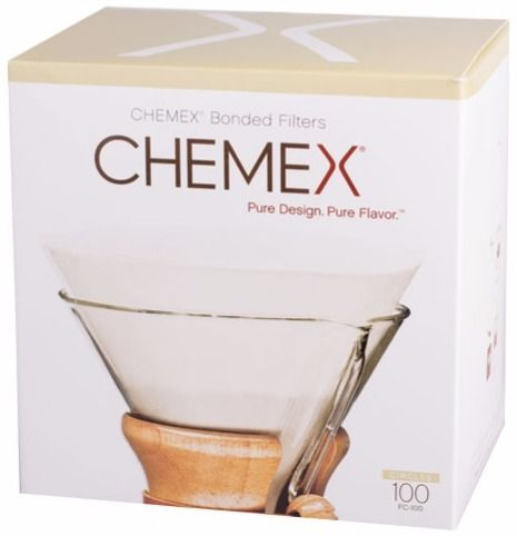 Chemex Pre-folded Circles Paper Coffee Filters for 6, 8 and 10 cup Coffeemaker, 100 pcs