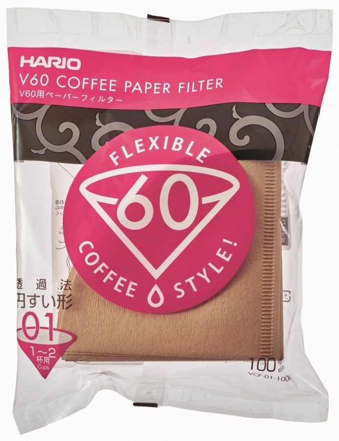 Hario V60 Size 01 Brown Coffee Paper Filters 100 pcs