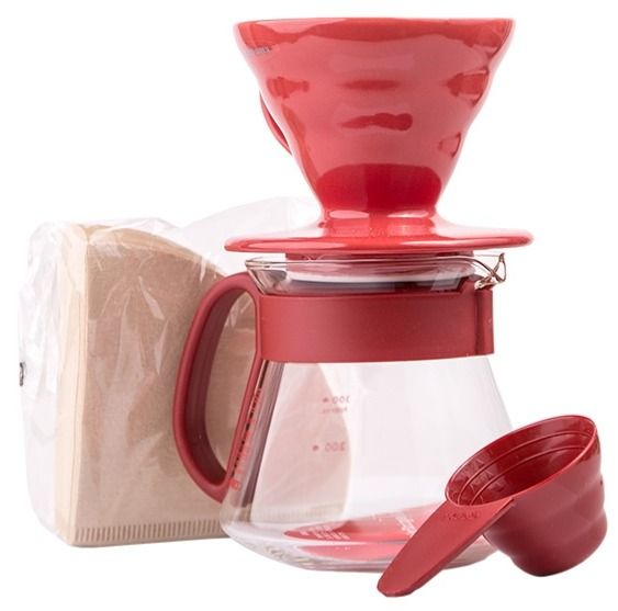 Hario Pour Over Kit V60-01 Ceramic, Red