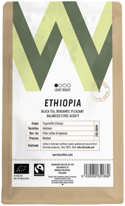 Warrior Coffee Ethiopia Yirgacheffe 250 g Coffee Beans