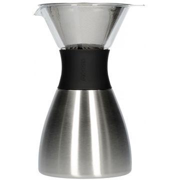 Asobu PourOver-PO300 Insulated Coffee Maker, Silver/Black