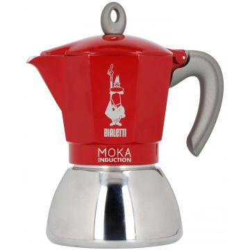 Bialetti Moka Induction Red 6 Cup Stovetop Espresso Maker
