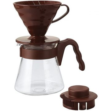 Hario V60-02 Pour Over Kit Brown